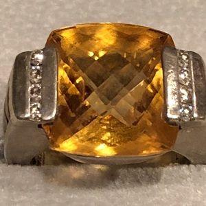 David Yurman 925 Citrine Metro Ring Size 7